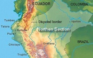 Where is Peru's northern border?
