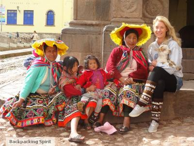 Emma with local Peruvians