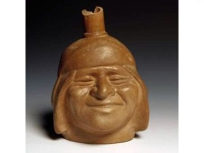 Expressive Moche Pottery - Smiling Man
